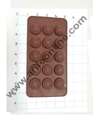 Cake Decor Silicon 15 Cavity New Rose Design Brown Chocolate Mould, Ice Mould, Chocolate Decorating Mould