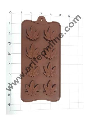 Cake Decor Silicon 8 Cavity Leaves Design Brown Chocolate Mould, Ice Mould, Chocolate Decorating Mould