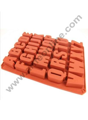 "Cake Decor ""A-Z"" 26 English Letters Alphabet Soap Ice Cube Chocolate Candy Silicone Mold Cake Decoration Pan Silicone Alphabet Baking Mold"