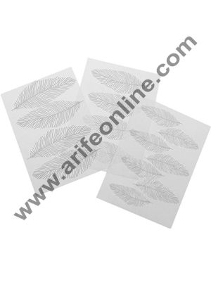 Cake Decor 3Pcs Feather Texture Sheet Set Sugar Craft Decoration Texture Mat Cake Mold Cake Mold Bake ware Accessories