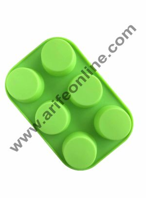 Cake Decor 6 in 1 Silicon Bakeware Round Shape Cupcake Moulds Muffin Mould