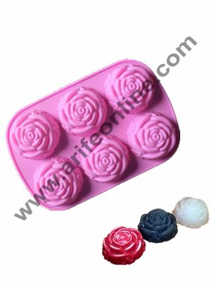 Cake Decor 6 in 1 Silicon Bakeware Rose Shape Cupcake Moulds Muffin Mould