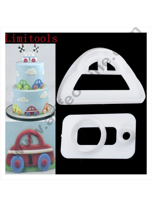 Cake Decor 2 Pc Cute Car Plastic Fondant Cutter Gumpaste Cutter 1