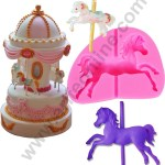 Cake Decor 1pcs Silicone Fondant Mould 3d Carousel Horse With Pole Cake Decorating Arifeonline Arife Lamoulde Online Store