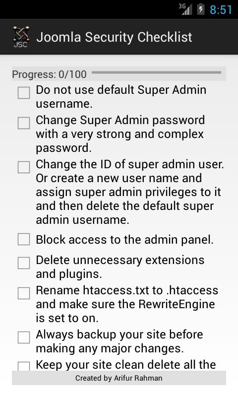 Joomla Security Check List