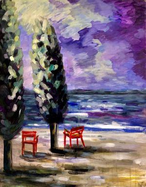 2 rote Stühle