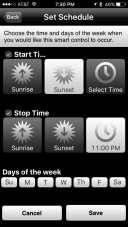 Setting schedules within the TCP iOS App