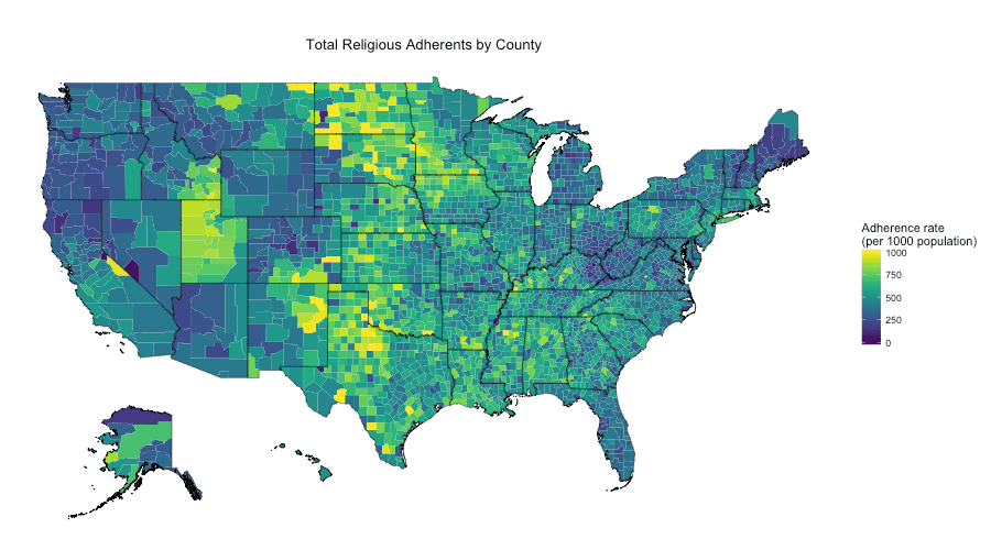 Mapping US Religion Adherence By County In R AriLamsteincom - World population religion 2016