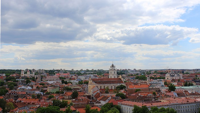 The view from Gediminas Hill to the Old Town of Vilnius. Plenty of old red rooftops.