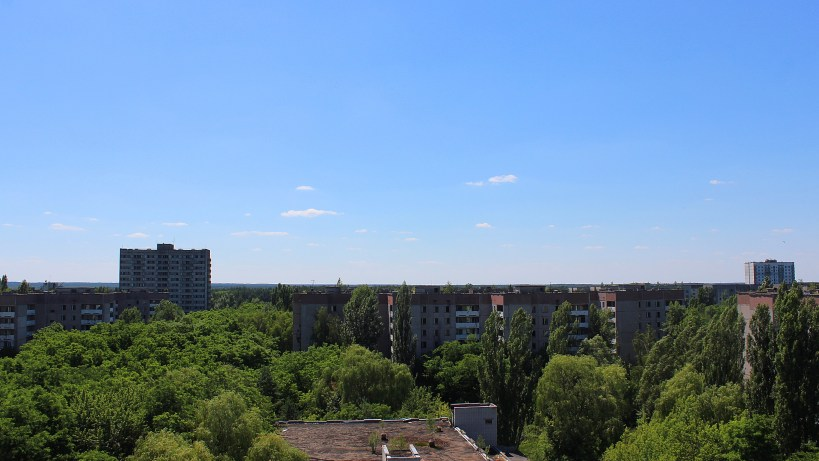 Tsernobyl Kouvola. Apartment buildings in the forested suburbs of Pripyat.