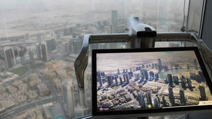 Burj Khalifa VR screen or digital binoculars showing Dubai on a clear day.