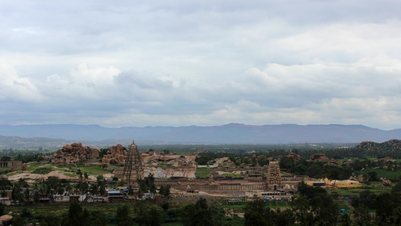 The view to Hampi from a hilltop in Virupapur Gaddi.