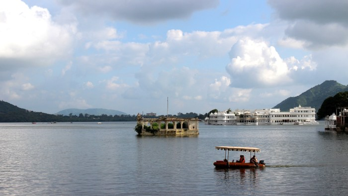 Lake Pichola as seen from the terrace of Rainbow Restaurant.
