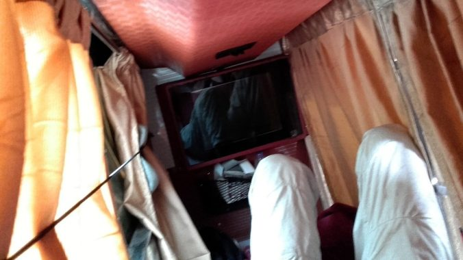 Waking up in a sleeper bus from Hampi to Mumbai.