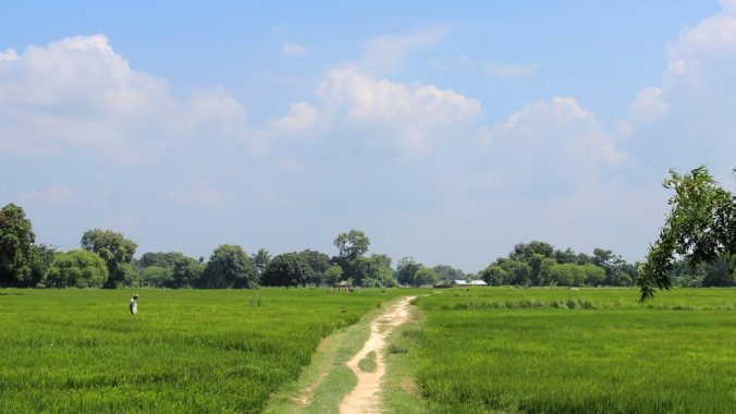 A narrow countryside path in the countryside in Nepal.