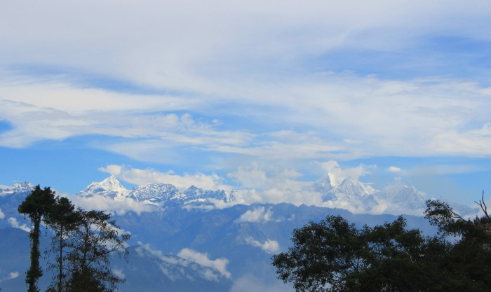 Blog on hiatus. The view of the Himalayas from Hotel at the End of the Universe, Nagarkot.