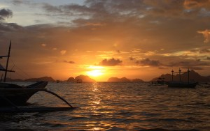 Sunset at Outpost Beach Hostel, Palawan, Philippines.
