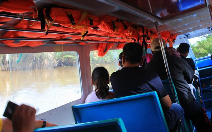 The first boat ride towards Ulu Temburong National Park.