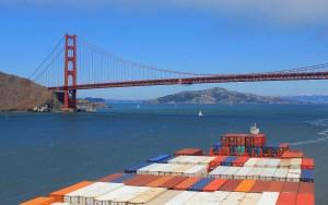 A cargo vessel ready to cross under the Golden Gate Bridge in San Francisco.
