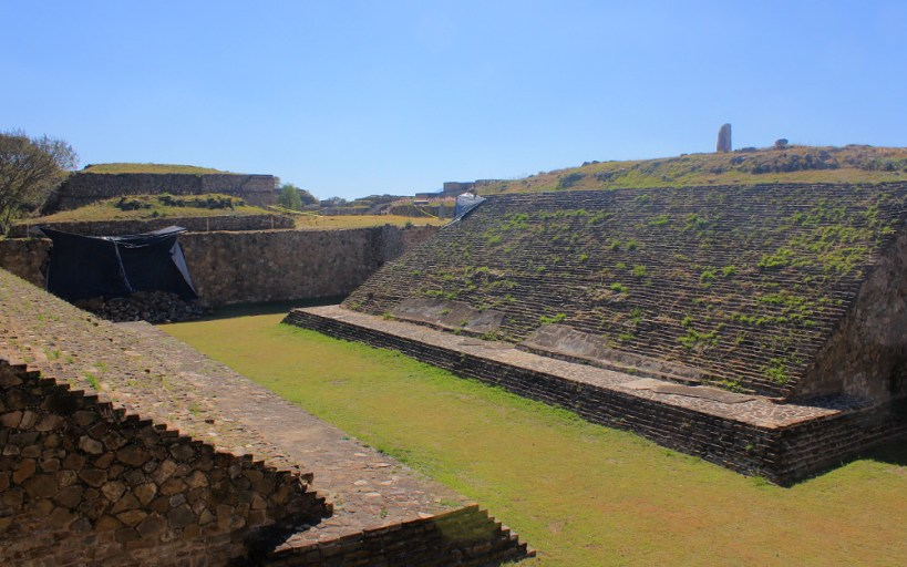 Mesoamerican ball game court at the ruins of Monte Alban, Mexico