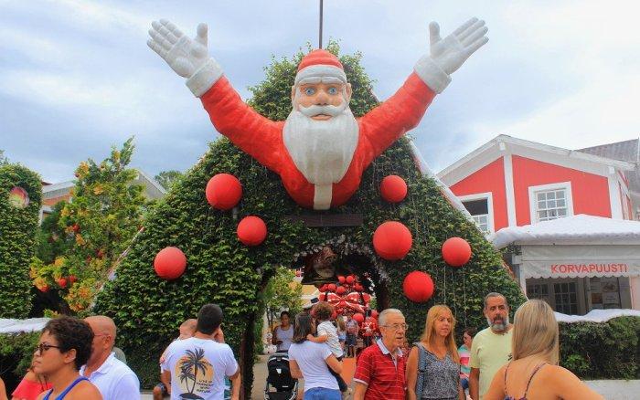 Santa Claus at the Pequena Finlandia / Pikku-Suomi / Little Finland entrance in Penedo, Brazil.