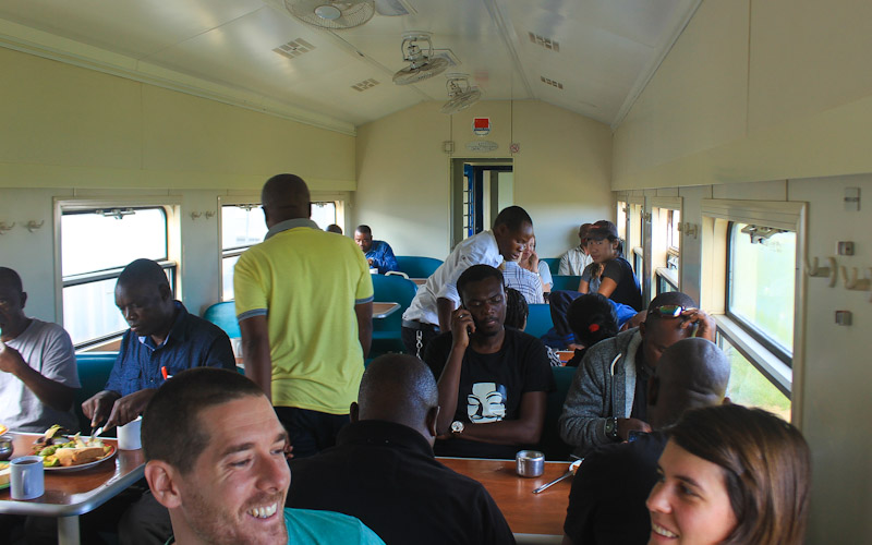 TAZARA train from Kapiri Mposhi to Dar es Salaam, Dar es Salaam to Kapiri Mposhi. Train restaurant car.