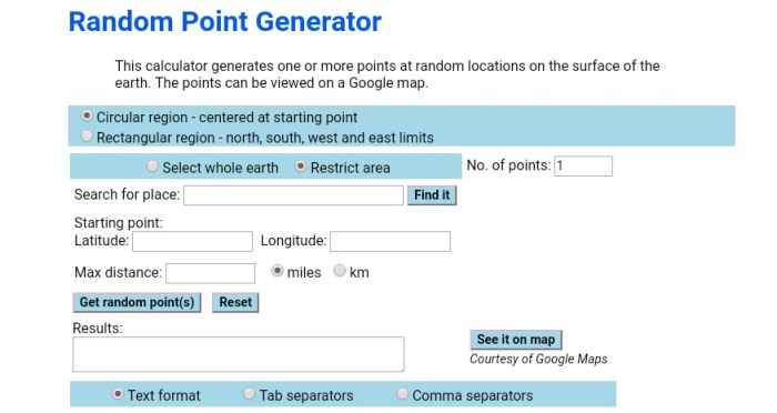 Screenshot from Geomidpoint.org's Random Point Generator.