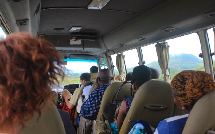 A shuttle bus from Arusha to Nairobi. Traveling through Africa on buses and trains (public transport).