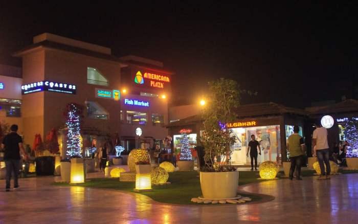 American Plaza in Sheikh Zayeed City at night..