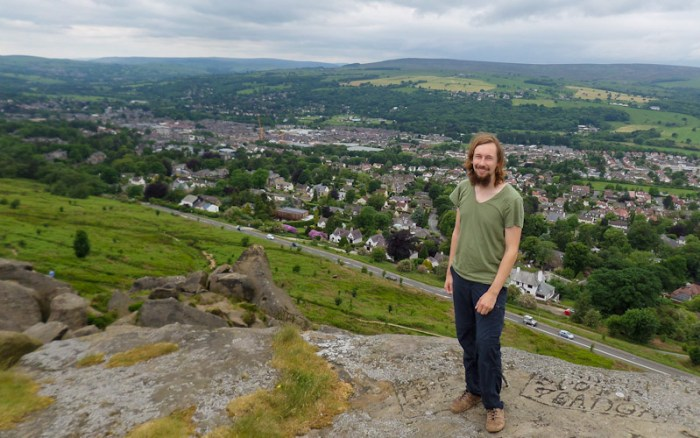 View from top of the Cow and the Calf rocks in Ilkley Moor, England. Arimo Koo travel blog.