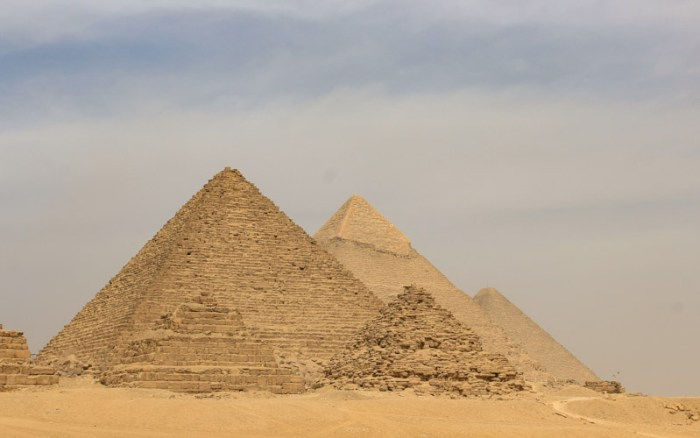 Giza pyramid complex alignment from the dunes. The second year of my trip around the world.