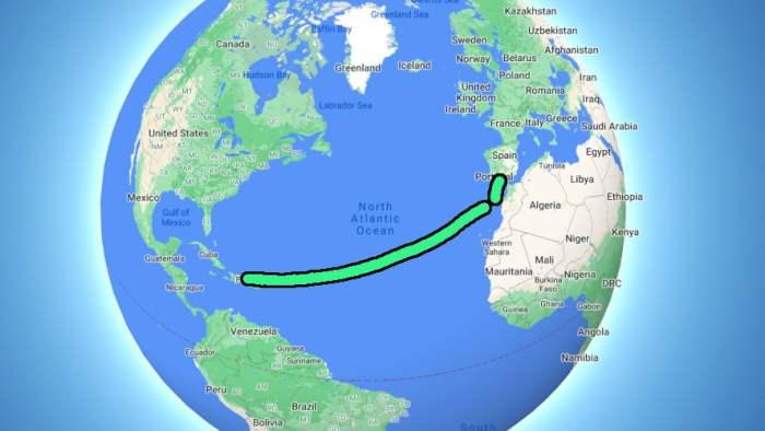 Sailboat route across the Atlantic