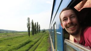 Overland travel guides, traveling on a train