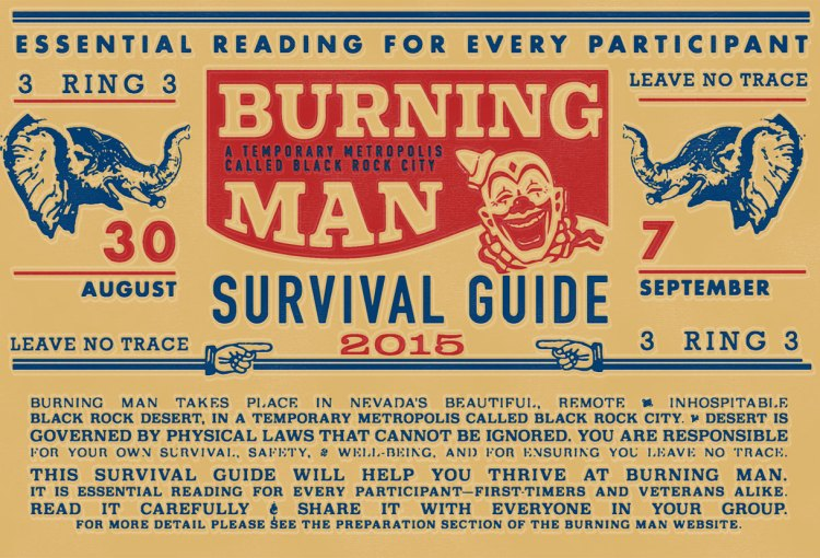 Burning Man Survival Guide print periodical design