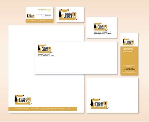 Stationery design for Charlie's Corner
