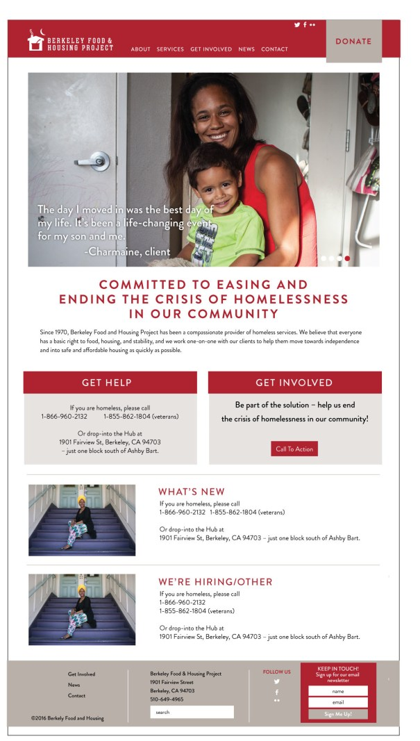 web design for the Berkeley Food and Housing project, a nonprofit