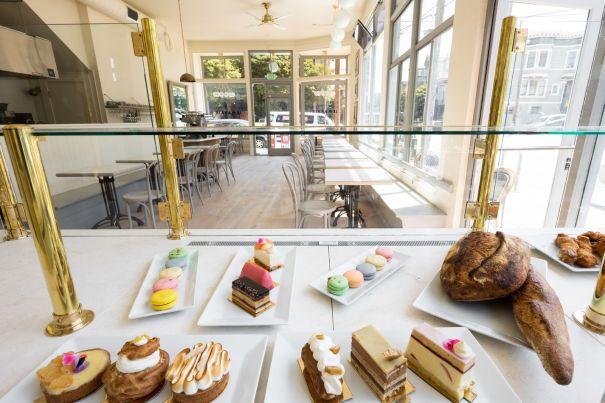 beautiful pastry case at Le Marais Bakery in the Castro, logo and menu design for Le Marais Bakery