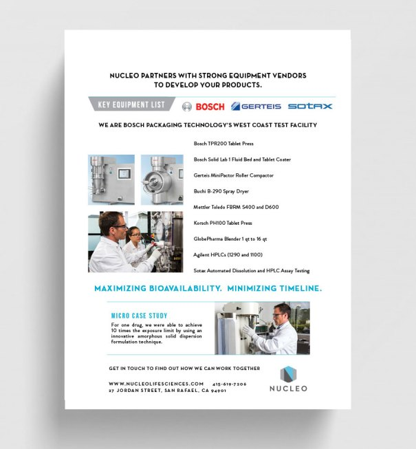 print design for Nucleo life sciences, services flyer for bay area business