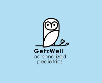 Logo and branding for San Francisco's GetzWell Pediatrics, women owned and run