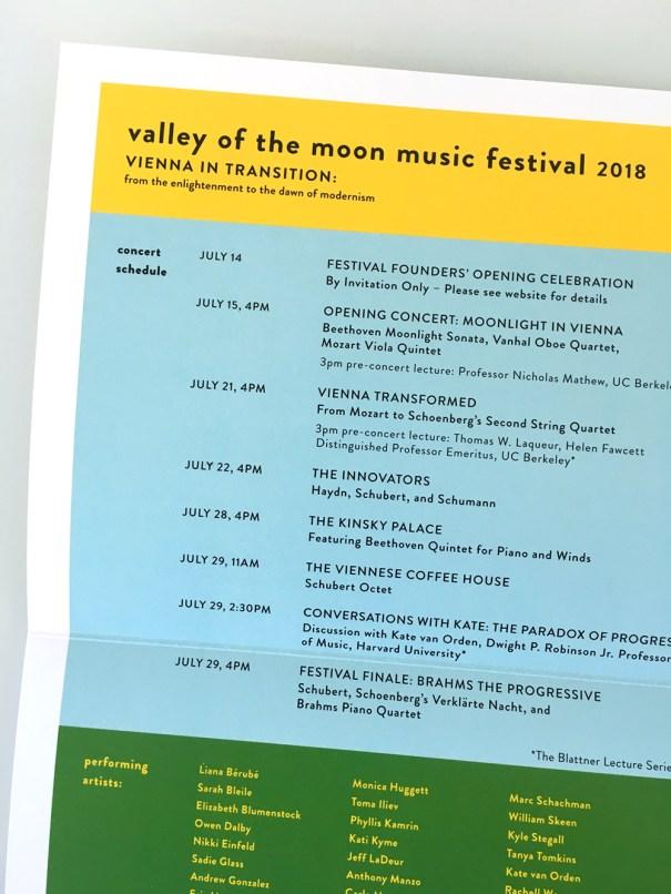 Music festival program and brochure design, sonoma california