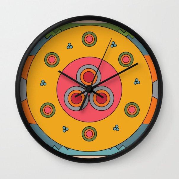 Unique design wall clock, graphic, vibrant and colorful