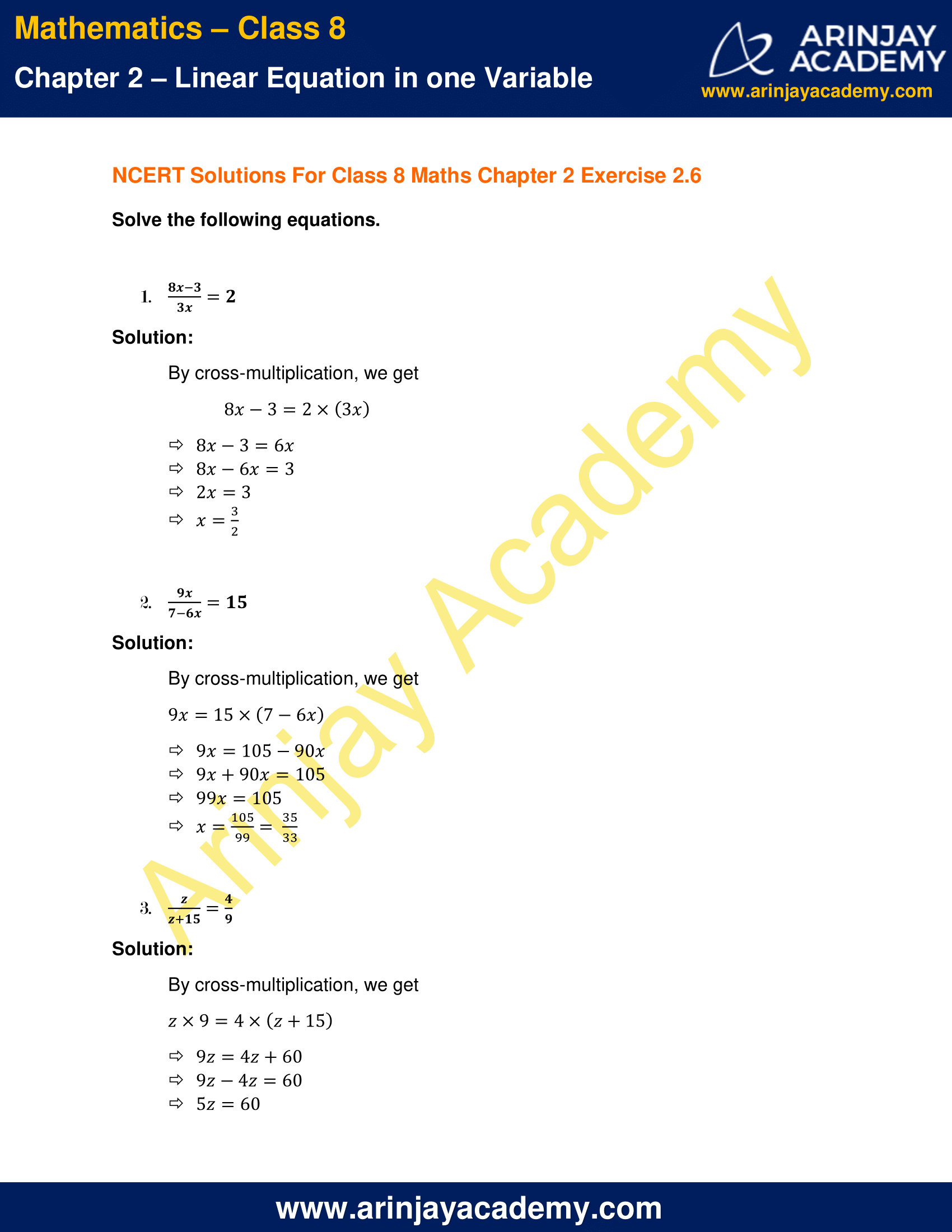 Ncert Solutions For Class 8 Maths Chapter 2 Exercise 2 6
