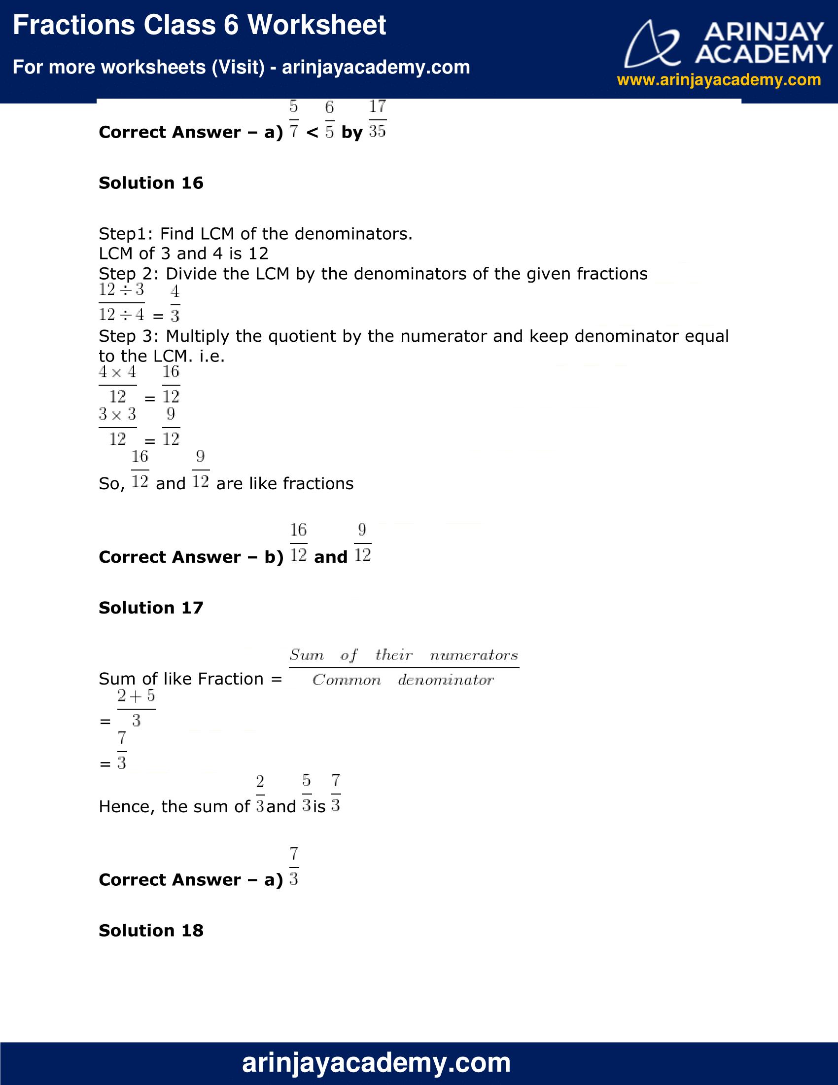 Fractions Class 6 Worksheet Maths