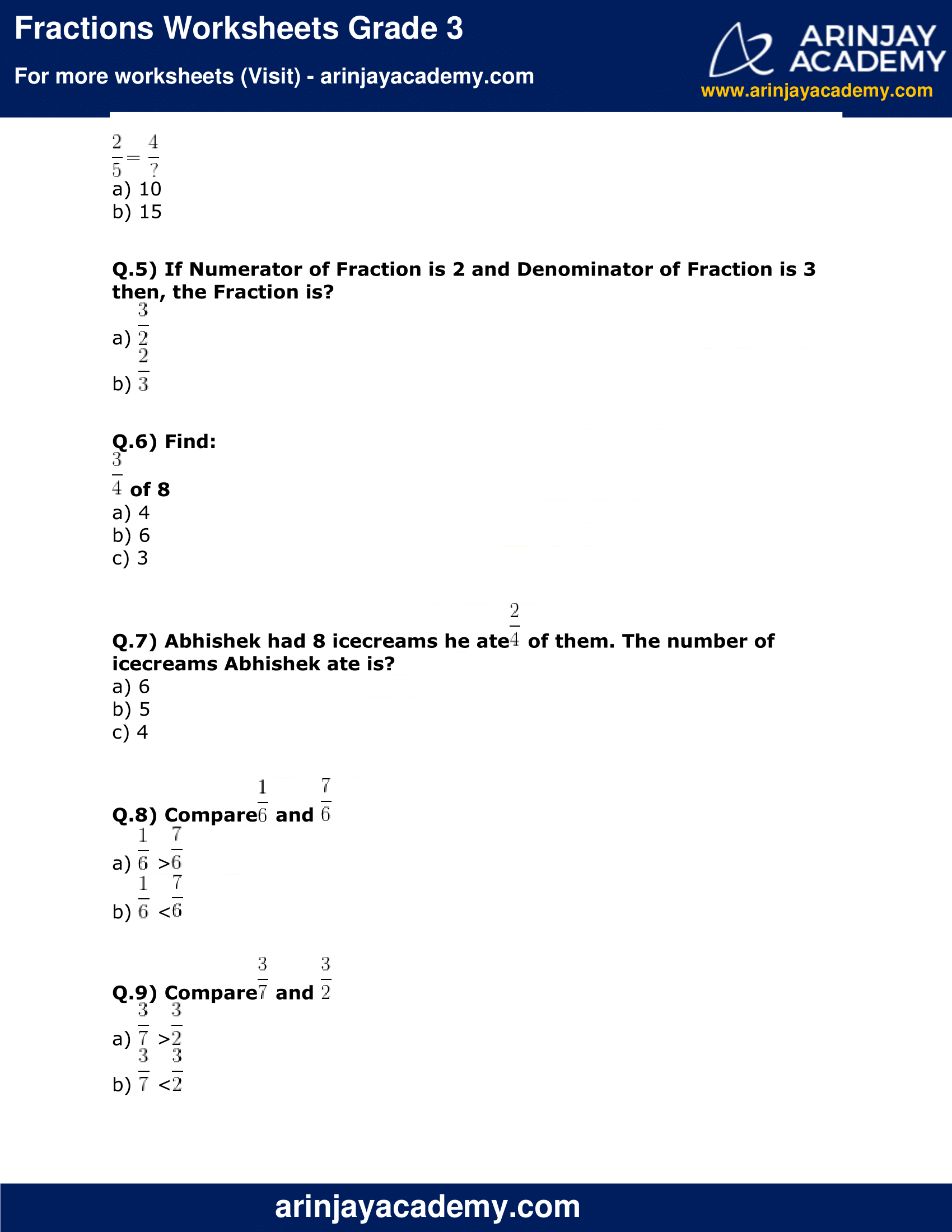 Fractions Worksheets Grade 3 Maths