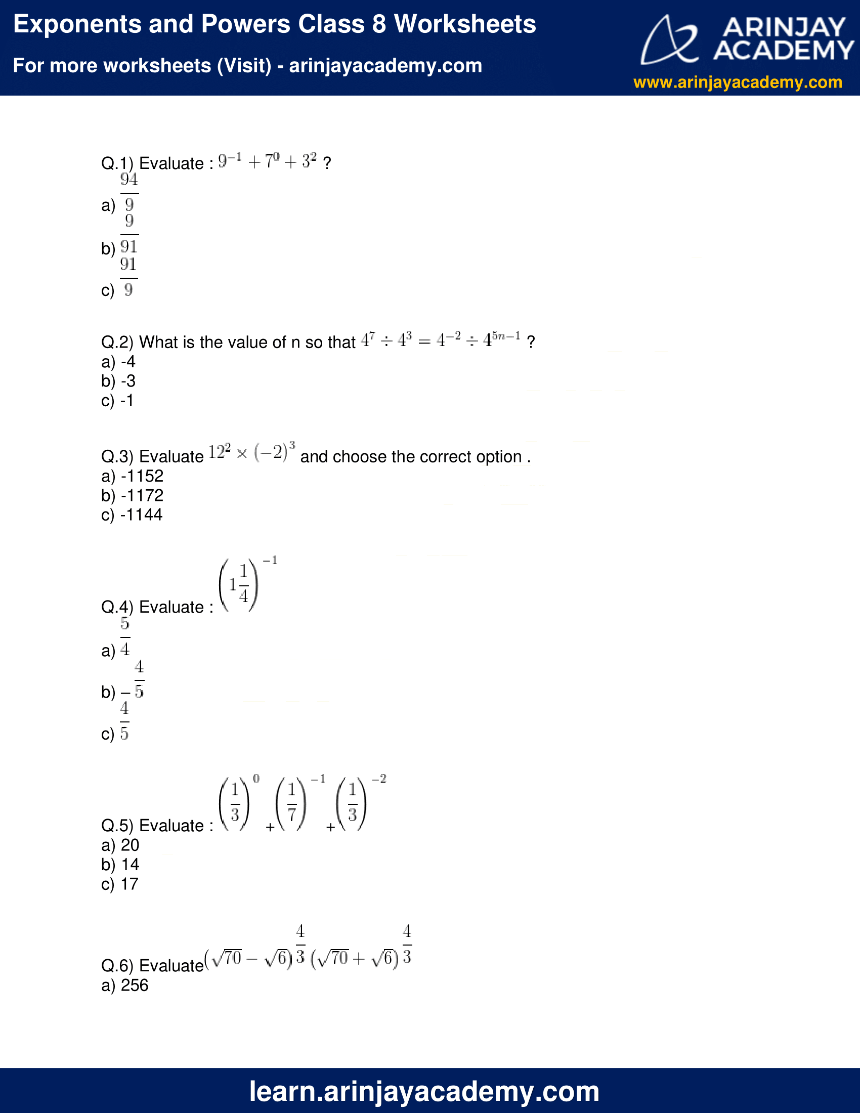 Worksheet On Exponents Class 8