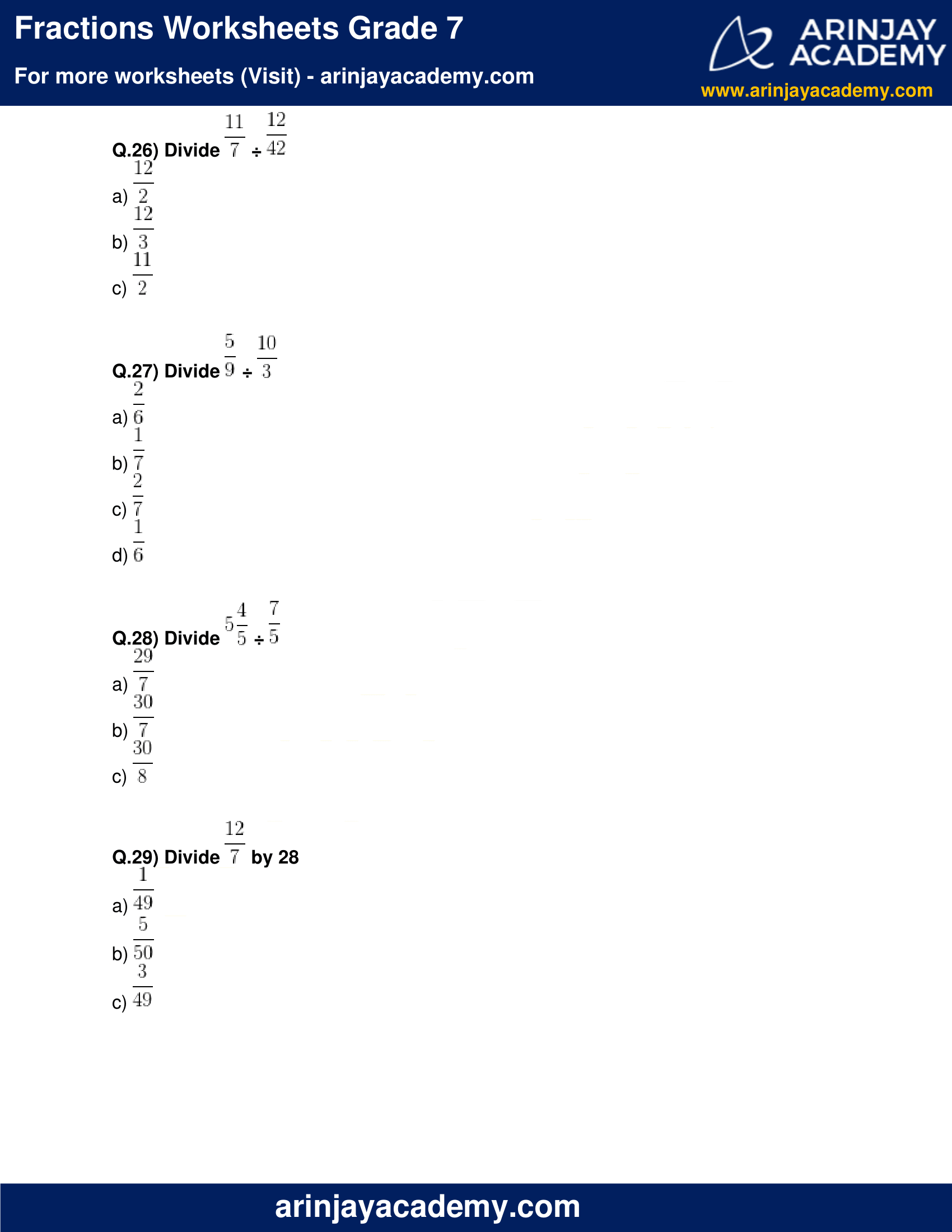 Fractions Worksheets Grade 7