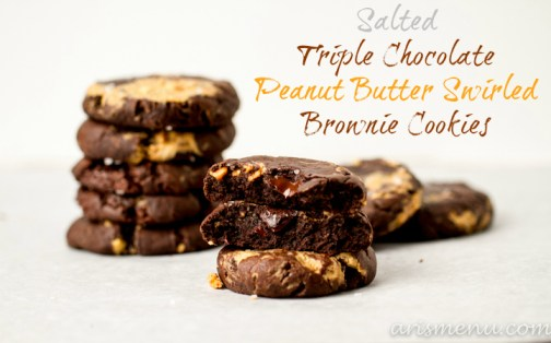 Salted Triple Chocolate Peanut Butter Swirled Brownie Cookies #vegan via www.arismenu.com