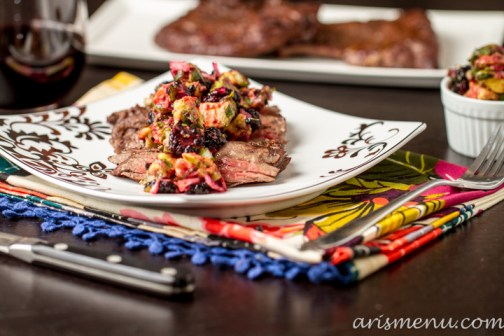 Grilled Skirt Steak with Blackberry Avocado Salsa via arismenu.com