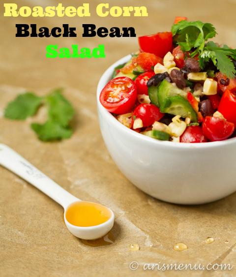 Roasted Corn Black Bean Salad #vegan #glutenfree