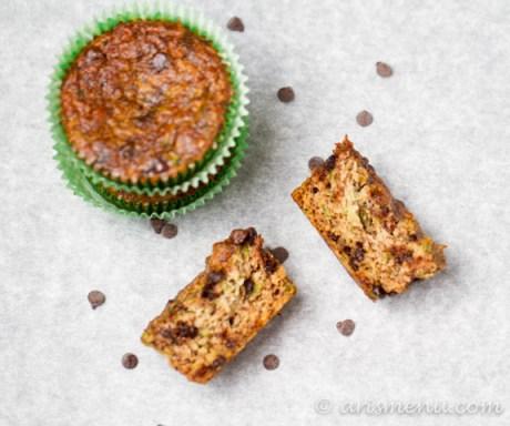 Chocolate Chip Zucchini Almond Meal Muffins #vegan #glutenfree